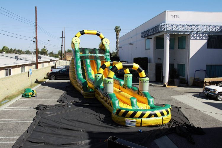 18ft Dual Lane BioHazard Water Slide with Slip and Slide